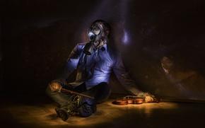 Картинка музыка, апокалипсис, скрипка, противогаз