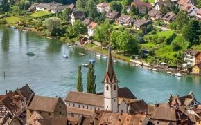 Картинка река, дома, Швейцария, архитектура, Switzerland, городок., Stein am Rhein