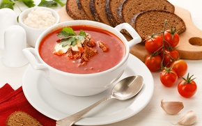 Картинка черный, хлеб, мясо, помидоры, борщ, чеснок, сметана, ржаной
