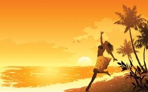 Картинка море, пляж, лето, девушка, настроение, арт