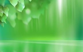 Обои минимализм, зеленый, листья