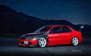 Обои Mitsubishi, Lancer, Red, Tuning, Wheels, Spoiler, Evolution 9