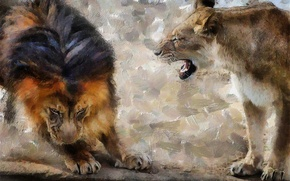 Картинка фон, лев, львица, рык