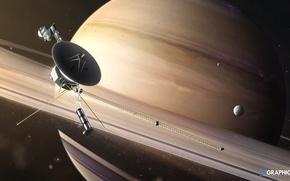 Картинка космос, планета, спутник, кольца, Сатурн, звёзды, Saturn Fly