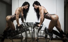 Обои photography, female, bodybuilder, gym, brunette, fitness, mirror
