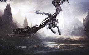 Картинка снег, пейзаж, горы, фантастика, дракон, Dragon, живопись, Dragon's Prophet, снежный дракон