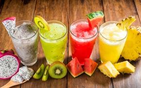 Обои стаканы, ананас, фрукты, смузи, напиток, сок, киви, арбуз