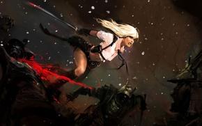 Картинка снег, прыжок, кровь, войны, арт, блондинка, мечь, Sucker Punch