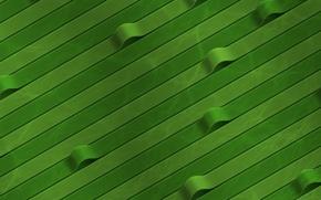 Обои зеленый, ленты, изгибы