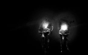 Обои черепа, хорор, темно