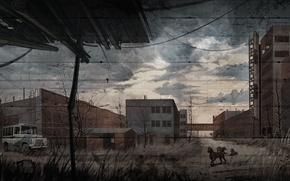 S.T.A.L.K.E.R. Call of Pripyat, stalker, сталкер, Зов Припяти, арт, рисунок, завод Юпитер, слепые псы, собаки, обои