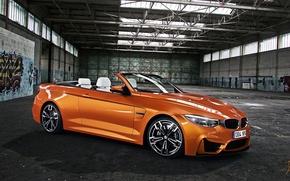 Картинка BMW, Orange, Car, Front, Graffiti, Cabrio, Hangar