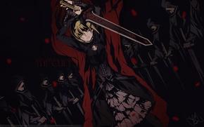 Картинка взгляд, девушка, оружие, меч, Fate Stay Night