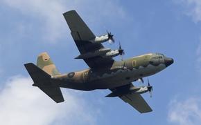 Картинка небо, полёт, самолёт, Lockheed, военно-транспортный, Hercules, C-130H