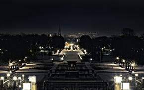 Картинка ночь, город, огни, парк, hdr, фонари, большое разрешение