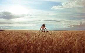 Картинка поле, лето, девушка, настроение, колосья