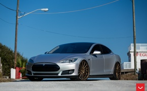 Картинка Tesla, Vossen, Wheels, Model S, P85, VFS-2