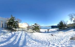 Картинка зима, море, снег, деревья, корабли, ели, колонны