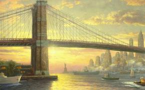 Обои мост, city, океан, здания, Нью-Йорк, флаг, катер, парус, USA, США, живопись, мегаполис, bridge, New York, ...