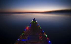 Обои разноцветье, в огнях, лодка, река