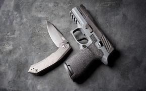 Обои пистолет, фон, P320, нож, оружие