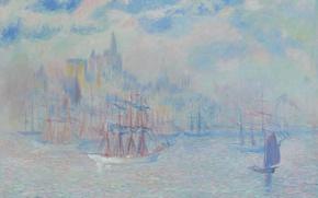 Обои корабль, картина, Нью-Йорк, морской пейзаж, Theodore Earl Butler, Ships in the New York Harbor