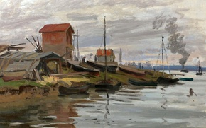 Картинка пейзаж, дом, река, картина, Клод Моне, Сена в Пти-Женвилье