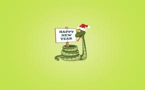 Обои надпись, табличка, новый год, змея, красная, зеленый фон, happy new year, новогодняя шапка
