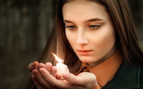 Картинка девушка, память, свеча, Thoughts