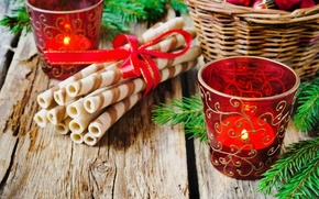 Картинка зима, шарики, ветки, корзина, еда, свеча, ель, Новый Год, Рождество, десерт, праздники, подсвечник, трубочки, вафельные
