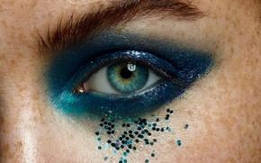 Картинка глаз, макияж, стразы