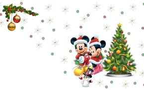 Картинка настроение, праздник, новый год, огоньки, арт, снеговик, Disney, ёлочка, мышки, снежинка, микки маус, Mickey Mouse, …
