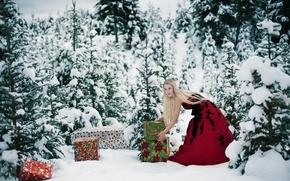 Картинка зима, лес, девушка, подарки