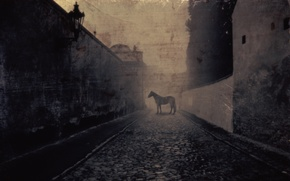 Картинка улица, лошадь, Horse, фонарь. старина, Cobbled Street