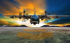 Обои небо, облака, полет, самолет, полоса, размытость, горизонт, аэродром, airplane, боке, двухмоторный, средний, транспортный, wallpaper., beautiful ...