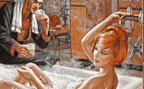 Обои рисунок, ванна, девушка, пена