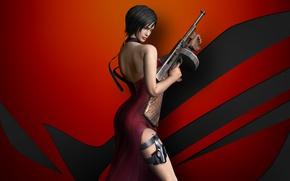 Обои chinese, Biohazard, Ada Wong, pose, Asus, thigh, asian, Biohazard 4, weapon, gun, spy, brunette, oriental, ...