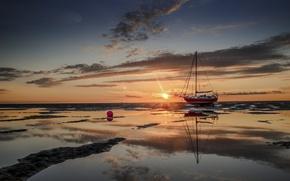 Картинка море, закат, лодка, отлив