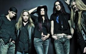 Картинка девушка, шляпа, Nightwish, Marco, Jukka, Tuomas, Erno, Tarja