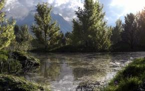 Картинка лес, деревья, горы, природа, озеро, пруд, болото, арт, Klontak