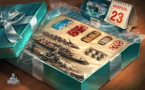 Обои игра, toy, коробка, подарок, 23 февраля, gift, World Of Warship
