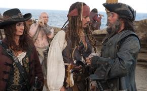 Обои пираты, джек воробей, пенелопа крус, анжелика, пираты карибского моря 4, фильм, pirates of the caribbean ...