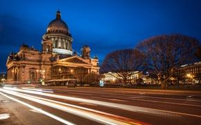 Картинка дорога, ночь, огни, улица, фонари, Russia, питер, санкт-петербург, St. Petersburg