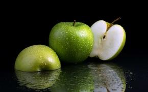 Обои макро, яблоки, фон