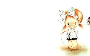 Картинка минимализм, арт, девочка, иллюстрация, детская