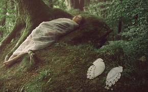 Картинка лес, девушка, фантазия, крылья, кокон