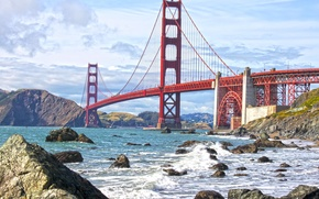 Картинка волны, небо, вода, облака, мост, пролив, камни, берег, Золотые Ворота, США, Сан Франциско