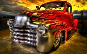 Картинка огонь, пламя, автомобиль, Hot Rod, классический