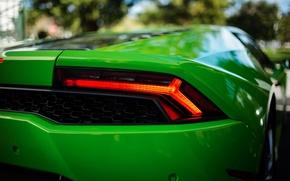 Картинка green, боке, Lamborghini Huracán