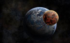 Обои земля, пространство, Луна